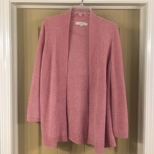 LOFT Pink Chenille Open Cardigan